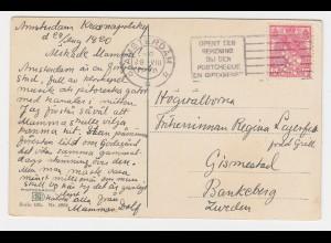 NL 1920, 5 C. m. perfins Firmenlochung auf Karte v. Amsterdam n. Schweden.