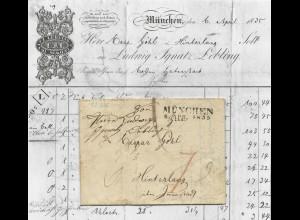 Bayern 1835, L2 München auf Porto Brief n. Hindelang ü. Immenstadt. Landbote!