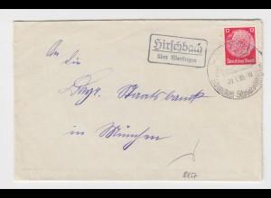 DR 1939, Hirschbach über Wertingen, Landpost Stpl. auf Brief. 12 Pf.