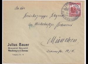 Neuburg Donau, Neuwirt Brauerei, Vordruck Brief m. Thematik Bier. #504