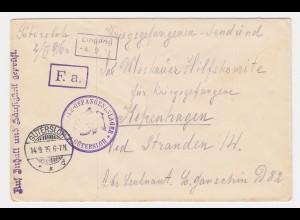 DR 1916, KGF POW Zensur Brief v. Offizier Lager Gütersloh n. Dänemark