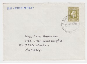 Norwegen 1973, Schiffspost Brief m. Neuseeland Stpl. Auckland Packet Boat