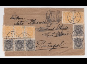 Schweden 1933, printed matter wrapper with 10 stamps from Lund to Portugal