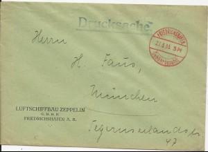DR 1935, Zeppelin Brief Umschlag m. Friedrichshafen Gebühr bezahlt Stpl.