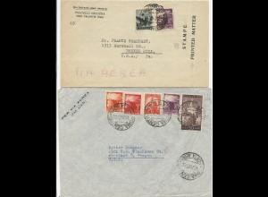 Italien 1947, 2 Luftpost Brief n. USA, 1mal stampe - Drucksache