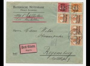 Bayern 1920, 6 Freistaat Werte auf Eilboten Brief v. Augsburg. #475