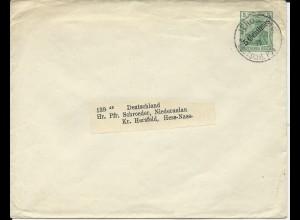 DP Türkei 1911, 5 C. Ganzsache Brief v. Jerusalem n. Niederaulau