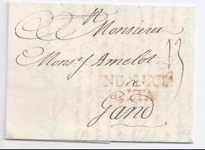 Spanien Belgien 1768, Andalucia Alta in rot auf kpl. Porto Brief nach Gent. #378