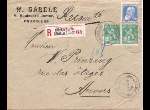 Belgien 1912, Einschreiben Firmen Brief m. 3 Marken. #783