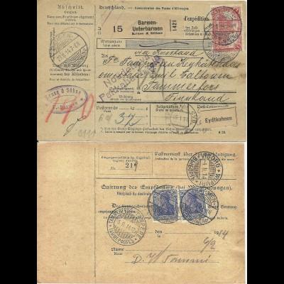 DR 1914, 1 Mk.+2x20 Pf. rs. auf Paketkarte v. Barmen n. Finnland