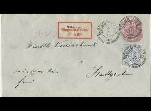 Württemberg 1878, 20 Pf. auf 10 Pf. Ganzsache Brief per Einschreiben v Mühringen