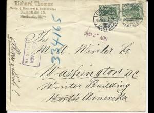 DR 1910, Dresden, Brauerei Brief m. ermäßigtem Porto (sog. direkter Weg) n. USA