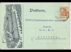DR 1918, 7 1/2 Pf. auf Reklamekarte v. Neustadt /Coburg n. Nürnberg