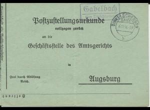 DR 1936, Landpost Stpl. Gabelbach ü. Dinkelscherben auf Zustellungsurkunde