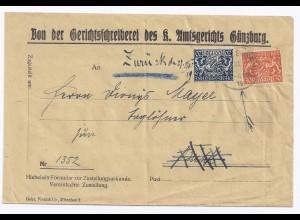 """Bayern 1919, 20+30 Pf. Dienst, """"Zurück""""- Brief v. Günzburg. #324"""