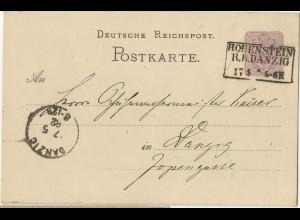 R3 Hohenstein R.B. DANZIG klar auf Ganzsache v. 1882 nach Danzig!