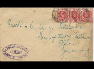 "Nigeria 1935, K2 Ijebu Ode auf Brief m. 3x1d n. Deutschland. ""return to..."""