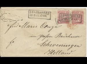 NDP 1869, R2 LANGENBERG R.B. DÜSSELDORF auf Gansache Brief m. 1 Gr. Zusatzfr.
