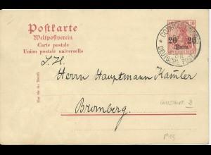 DP Türkei 1909, P3 sauber bedarfsgebraucht m. K1 Constantinopel 3