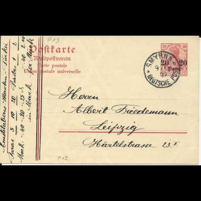 DP Türkei 1909, P13 sauber bedarfsgebraucht m. K1 SMYRNA b.