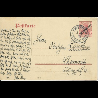 DP Türkei 1912, P17 sauber bedarfsgebraucht m. K1 SMYRNA b.