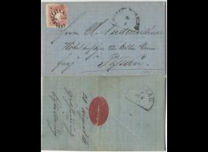 Bayern 1868, MR 151 Geiselhöring auf Firmen Brief m. breitrandiger 3 Kr. #2471