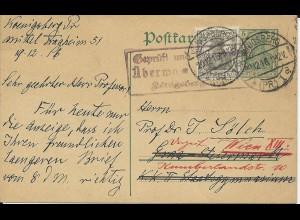 DR 1916, Ganzsache m. Zustzfrankatur v. Königsberg n. Österreich. Zensur.