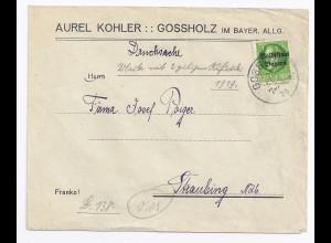 Bayern 1920, Grossholz Allgäu,EF 5 Pfg. Volksstaat, Firmen Brief Drucksache.#347