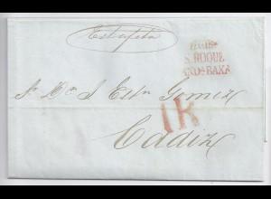 "Gibraltar Spanien 1849, schöner ""Estafeta""- Brief m. De Gib. S.Roque AndaB. #551"