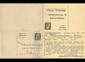 Bayern 1912, gebr. 5 Pf. Doppel Ganzsache m. Petroleum Firmenzudruck. #1290