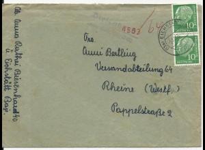 1958, Biesenhard über Eichstätt, Landpoststellen II Stpl. auf Brief. #1417