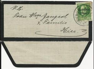 Bayern 1919, EF 5 Pf. Volksstaat auf Orts Trauer Brief v. Lindenberg. #2676