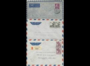 Schweiz 1947/48, 2 Luftpost Brief v. Genf i.d. USA, einmal MeF Einschreiben.