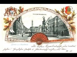 Augsburg, Partie b. Herkulesbrunnen, 1900 gebr. Farb-Präge-AK.