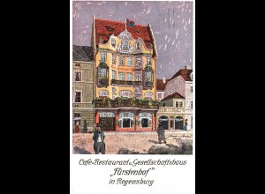Regensburg Café Restaurant Fürstenhof, 1921 gebr. Künstler Farb-AK.