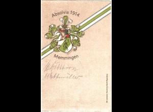 Memmingen, Absolvia 1914, gebr. Präge-Farb-AK m. Unterschriften.