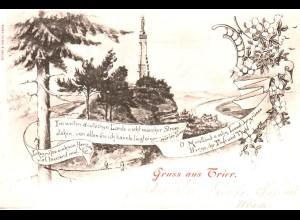Trier Landschaft m. Gedicht, 1898 gebr. Gruss aus...sw-AK.