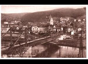 Bad Nassau m. Hängebrücke, 1928 gebr. sw-AK.