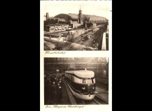 Hamburg, Bahnhof u. Schnell Zug, 1934 gebr. sw-AK, u.a. Tram Bahn