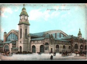 Hamburg, Haupt-Bahnhof, ungebr. Farb-AK, u.a. Pferde Kutschen.