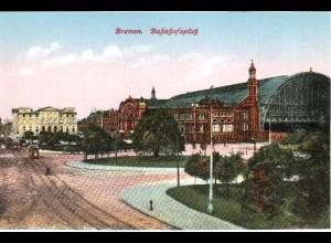 Bremen Bahnhofsplatz, ungebr. Farb-AK.