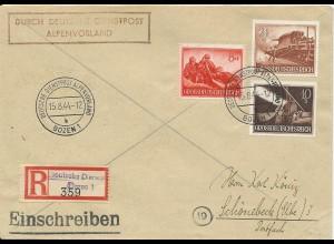 DR 1944, Dt. Dienstpost Alpenvorland, Einschreiben Brief v. Bozen