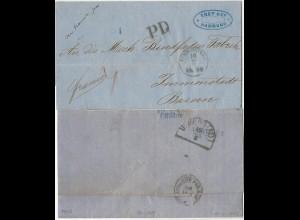 Hamburg 1865, Brief über Bahnpost Cöln u. Belgien n. Immenstadt, Bayern!