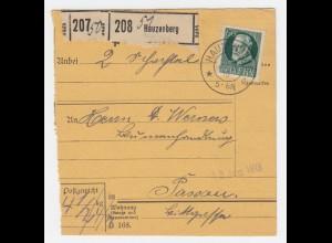 Bayern 1918, K2 Hauzenberg auf Paketkarte m. EF 60 Pf. nach Passau. #2236