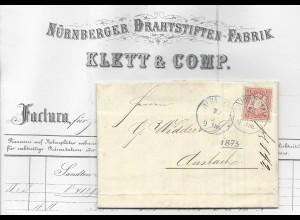 Bayern 1873, gedruckte Firmenrechnung m. 3 Kr. v. Nürnberg n. Ansbach