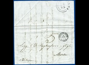 Türkei 1856, K2 Constantinople auf Schiffs Brief aus Russland nach Malta. #S622