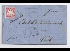 Bayern 1872, HKS Schmidtmühlen (Opf) auf Brief m. 3 Kr. u. kpl. Inhalt. #424