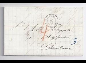 Sachsen Norwegen 1860, K2 Leipzig, Porto Brief m. rücks. Transitstempeln. #718
