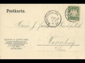 Bayern 1908, 5 Pf. m. perfins Firmenlochung auf Karte v. München