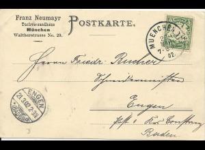 Bayern 1902, 5 Pf. m. perfins Firmenlochung auf Karte v. München